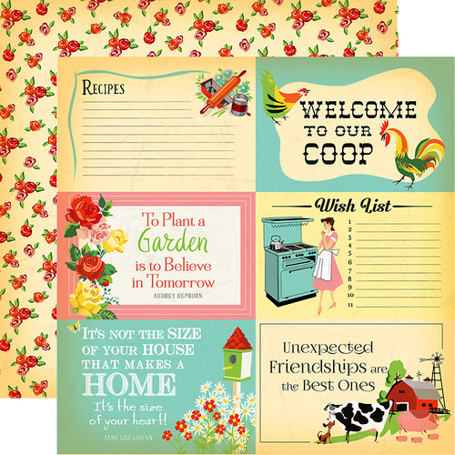 Carta Bella Paper - Country Kitchen Collection - 12 x 12 Double Sided Paper - 4 x 6 Journaling Cards