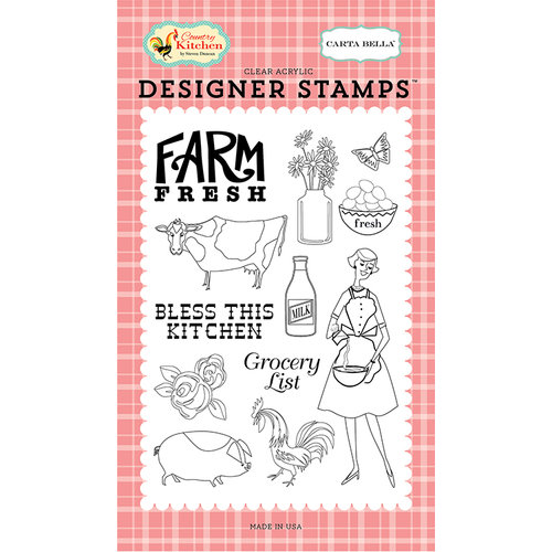 Carta Bella Paper - Country Kitchen Collection - Clear Acrylic Stamps - Farm Fresh
