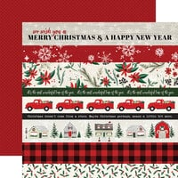 Carta Bella Paper - Christmas Market Collection - 12 x 12 Double Sided Paper - Border Strips
