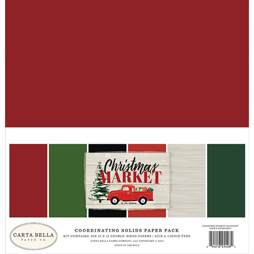 Carta Bella Paper - Christmas Market Collection - 12 x 12 Paper Pack - Solids