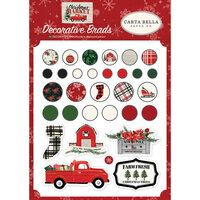 Carta Bella Paper - Christmas Market Collection - Decorative Brads