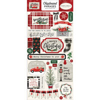 Carta Bella Paper - Christmas Market Collection - Chipboard Stickers - Phrases