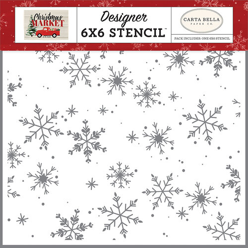 Carta Bella Paper - Christmas Market Collection - 6 x 6 Stencil - Falling Snowflakes