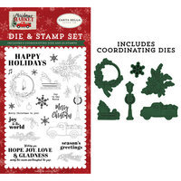 Carta Bella Paper - Christmas Market Collection - Designer Die and Clear Photopolymer Stamp Set - Happy Holidays