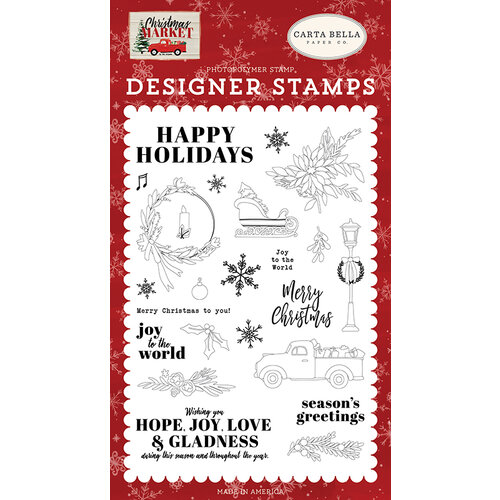 Carta Bella Paper - Christmas Market Collection - Clear Photopolymer Stamps - Happy Holidays