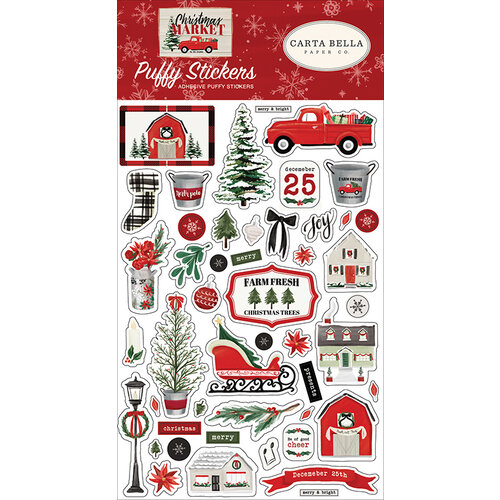 Carta Bella Paper - Christmas Market Collection - Puffy Stickers