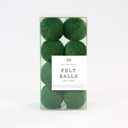 Carta Bella Paper - Christmas Market Collection - Felt Balls - Green Wool