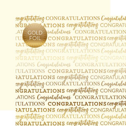 Carta Bella Paper - Congratulations Gold Foil Collection - 12 x 12 Paper with Foil Accents - Cream