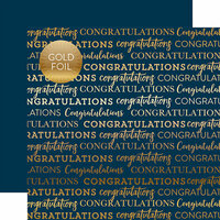 Carta Bella Paper - Congratulations Gold Foil Collection - 12 x 12 Paper with Foil Accents - Navy