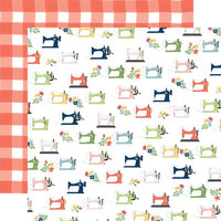 Carta Bella Paper - Craft and Create Collection - 12 x 12 Double Sided Paper - Sewing Machines