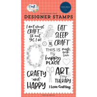 Carta Bella Paper - Craft & Create Collection - Clear Photopolymer Stamps - Crafty and Happy