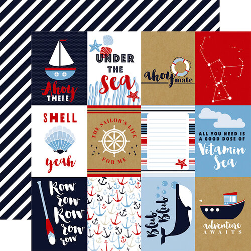 Carta Bella Paper - Deep Blue Sea Collection - 12 x 12 Double Sided Paper - 3 x 4 Journaling Cards