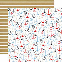 Carta Bella Paper - Deep Blue Sea Collection - 12 x 12 Double Sided Paper - Anchors Aweigh