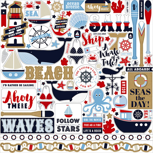 Carta Bella Paper - Deep Blue Sea Collection - 12 x 12 Cardstock Stickers - Elements
