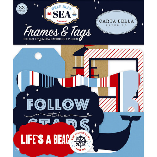 Carta Bella Paper - Deep Blue Sea Collection - Ephemera - Frames and Tags