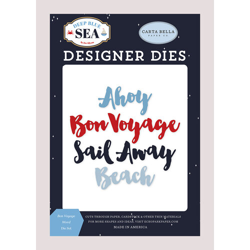 Carta Bella Paper - Deep Blue Sea Collection - Designer Dies - Bon Voyage Word