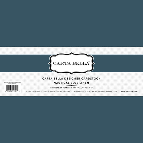 Carta Bella Paper - Bulk Cardstock Pack - 25 Sheets - Linen Texture - Nautical Blue