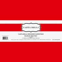 Carta Bella Paper - Bulk Cardstock Pack - 25 Sheets - Felt Texture - Scarlet Red