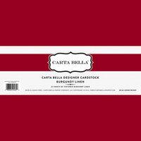 Carta Bella Paper - Bulk Cardstock Pack - 25 Sheets - Linen Texture - Burgundy