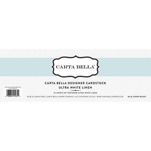 Carta Bella Paper - Bulk Cardstock Pack - 25 Sheets - Linen Texture - Ultra White