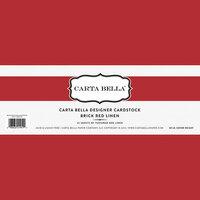 Carta Bella Paper - Bulk Cardstock Pack - 25 Sheets - Linen Texture - Brick Red