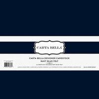 Carta Bella Paper - Bulk Cardstock Pack - 25 Sheets - Felt Texture - Navy Blue