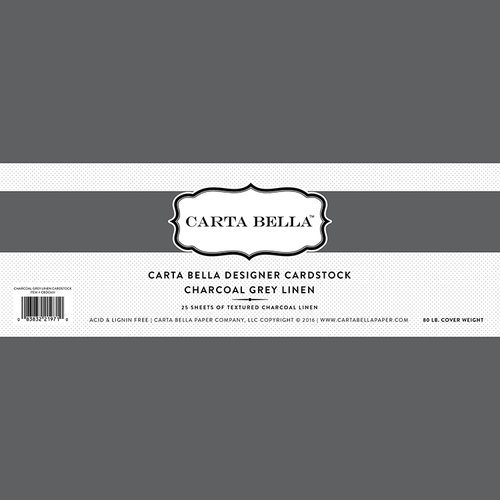 Carta Bella Paper - Bulk Cardstock Pack - 25 Sheets - Linen Texture - Charcoal Grey
