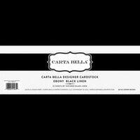 Carta Bella Paper - Bulk Cardstock Pack - 25 Sheets - Linen Texture - Ebony Black