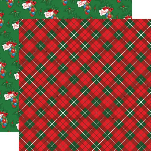Carta Bella Paper - Dear Santa Collection - 12 x 12 Double Sided Paper - Jolly Tartan