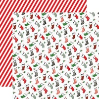 Carta Bella Paper - Dear Santa Collection - 12 x 12 Double Sided Paper - Stockings
