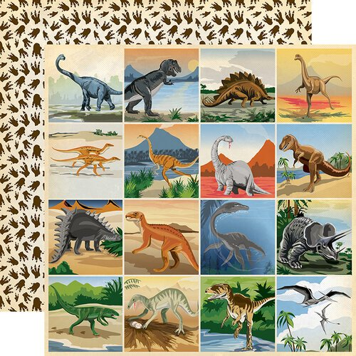Carta Bella Paper - Dinosaurs Collection - 12 x 12 Double Sided Paper - 3 x 3 Journaling Cards