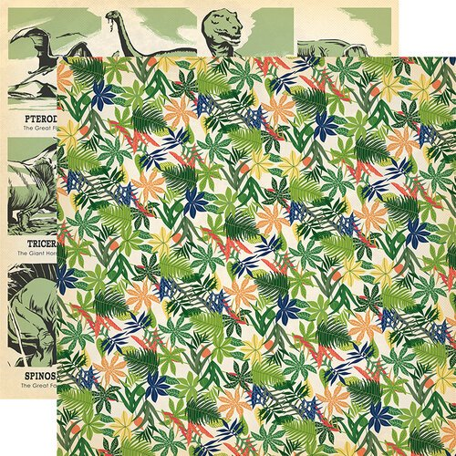 Carta Bella Paper - Dinosaurs Collection - 12 x 12 Double Sided Paper - Jungle Palms