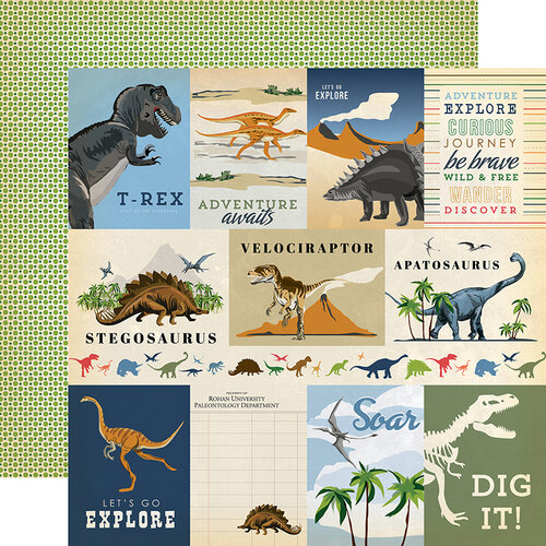 Carta Bella Paper - Dinosaurs Collection - 12 x 12 Double Sided Paper - 3 x 4 Journaling Cards