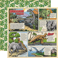 Carta Bella Paper - Dinosaurs Collection - 12 x 12 Double Sided Paper - Dino Comic Strip