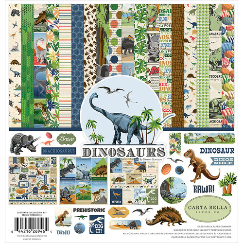 Carta Bella Paper - Dinosaurs Collection - 12 x 12 Collection Kit