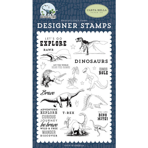 Carta Bella Paper - Dinosaurs Collection - Clear Photopolymer Stamps - Dinos Rule