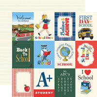 Carta Bella Paper - School Days Collection - 12 x 12 Double Sided Paper - 3 x 4 Journaling Cards