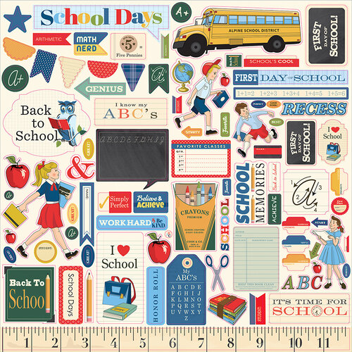Carta Bella Paper - School Days Collection - 12 x 12 Cardstock Stickers - Elements