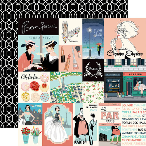 Carta Bella Paper - En Vogue Collection - 12 x 12 Double Sided Paper - Journaling Cards