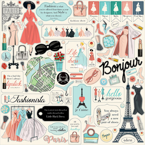 Carta Bella Paper - En Vogue Collection - 12 x 12 Cardstock Stickers - Element