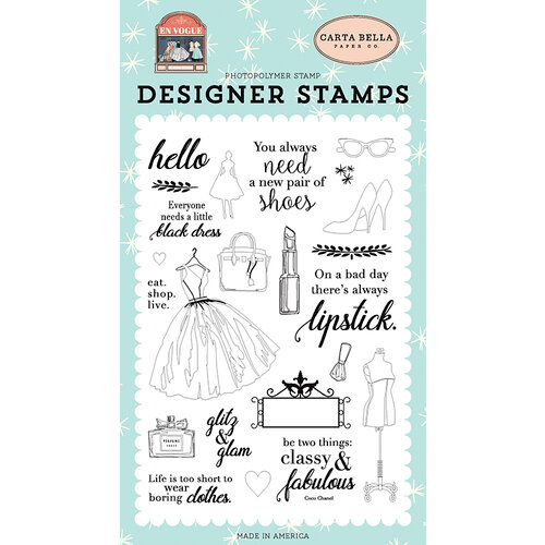 Carta Bella Paper - En Vogue Collection - Clear Photopolymer Stamps - Glitz and Glam
