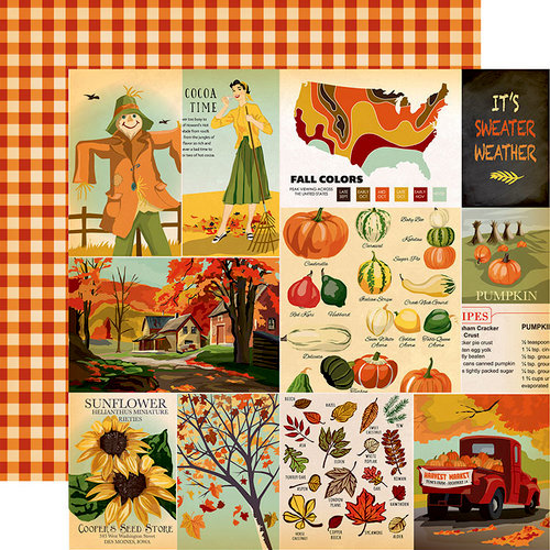 Carta Bella Paper - Fall Break Collection - 12 x 12 Double Sided Paper - Journaling Cards