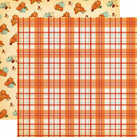Carta Bella Paper - Fall Break Collection - 12 x 12 Double Sided Paper - Pumpkin Plaid