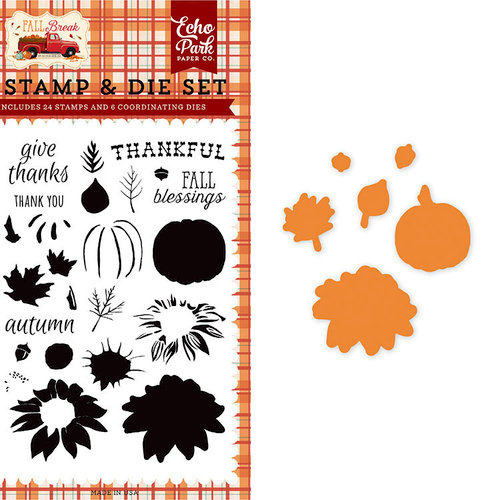 Carta Bella Paper - Fall Break Collection - Designer Die and Clear Acrylic Stamp Set - Thankful Layering