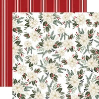 Carta Bella Paper - Farmhouse Christmas Collection - 12 x 12 Double Sided Paper - Poinsettia Floral