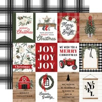 Carta Bella Paper - Farmhouse Christmas Collection - 12 x 12 Double Sided Paper - 3 x 4 Journaling Cards