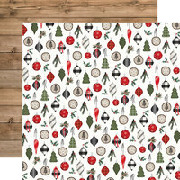 Carta Bella Paper - Farmhouse Christmas Collection - 12 x 12 Double Sided Paper - Ornaments