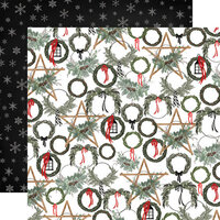 Carta Bella Paper - Farmhouse Christmas Collection - 12 x 12 Double Sided Paper - Noel Wreaths