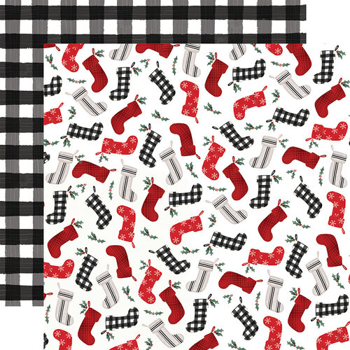 Carta Bella Paper - Farmhouse Christmas Collection - 12 x 12 Double Sided Paper - Stockings