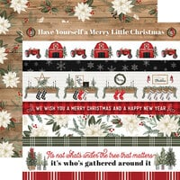 Carta Bella Paper - Farmhouse Christmas Collection - 12 x 12 Double Sided Paper - Border Strips